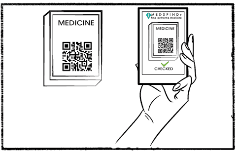 MedsFindr - Our poor patient scans the package to make sure it is authentic.